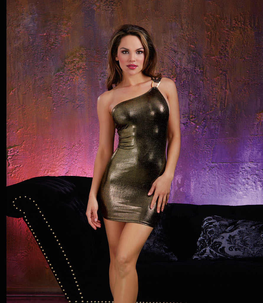 DG 10453 Gold Toga Mini-Dress
