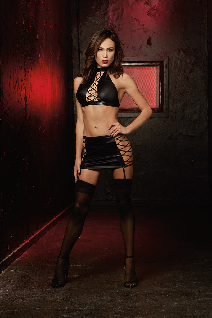 DG FD 10560 Fetish Halter Top & Garter Skirt