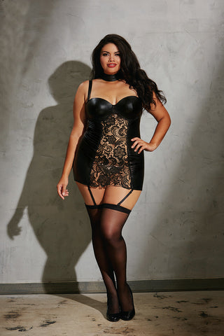 DG 10599X Faux-leather Garter Slip