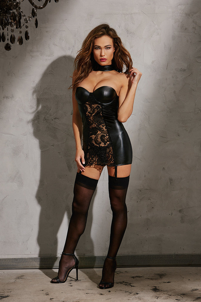 DG 10599 Faux-leather Garter Slip