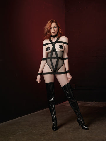DG RD 11058 Open-Cup Fishnet Teddy