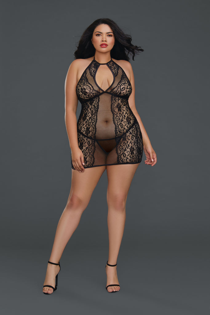 Dreamgirl Red Diamond Plus Size style 11515X black fishnet and lace halter Chemise buy at femmefatale lingerie Singapore