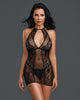 Dreamgirl Red Diamond style 11515 black fishnet and lace halter Chemise buy at femmefatale lingerie Singapore