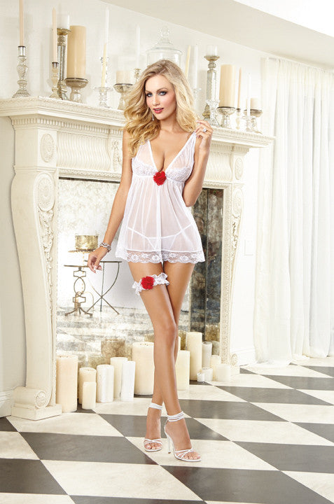 Dreamgirl Babydoll DG WD 9744 White One Size Fits Most