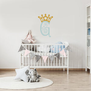 Wall Decal- Something Blue, Gold, Crown