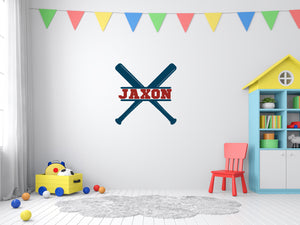 Wall decal- Baseball Monogram, Cardinal Red and Midnight Blue