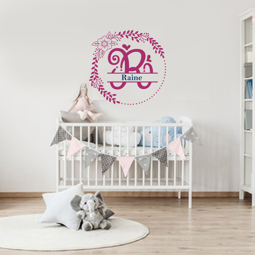 Wall Decal - Floral Monogram 2, Fuchsia, Midnight Blue