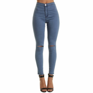 Autumn White Hole Skinny Ripped Jeans Women Jeggings Cool Denim High Waist Pants Capris Female Skinny Black Casual Jeans