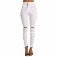 Cargar imagen en el visor de la galería, Autumn White Hole Skinny Ripped Jeans Women Jeggings Cool Denim High Waist Pants Capris Female Skinny Black Casual Jeans