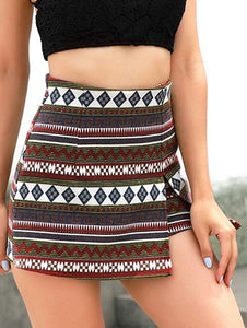 High Waist Patterned Shorts