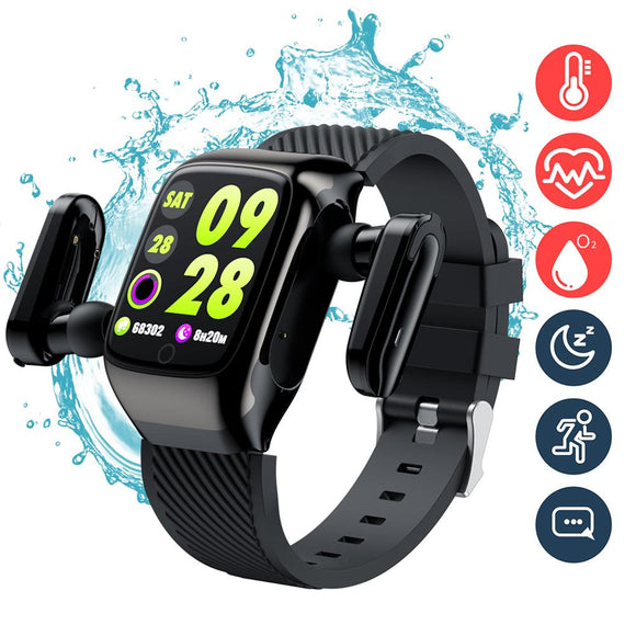 Smart Watch TWS Bluetooth Auriculares 2 In1. Monitor frecuencia C.