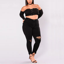 Cargar imagen en el visor de la galería, Women Holes Plus Size Jeans Pants Skinny Elastic Pencil Pants Mid Waist Black Jeans Woman Casual Spring 2-7XL Trousers
