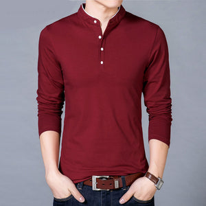 T-Shirt Men Spring Autumn New Cotton T Shirt Men Solid Color Chinese Style Mandarin Collar Long Sleeve Top Tee