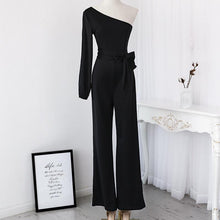 Cargar imagen en el visor de la galería, Women Fashion Elegant Stylish Office Lady Solid Party Elegant Jumpsuit One Shoulder Slit Sleeve Casual Spring Romper