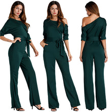 Cargar imagen en el visor de la galería, Solid Off Shoulder Loose Jumpsuits Buttons Up Half Sleeve Sashes Wide Leg One Piece Pants Women Rompers