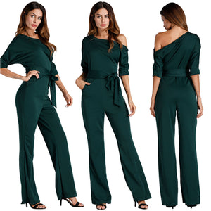Solid Off Shoulder Loose Jumpsuits Buttons Up Half Sleeve Sashes Wide Leg One Piece Pants Women Rompers