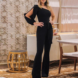 Women Fashion Elegant Stylish Office Lady Solid Party Elegant Jumpsuit One Shoulder Slit Sleeve Casual Spring Romper