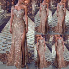Cargar imagen en el visor de la galería, Women Sexy Sequin Glitter Long Dress Sparkly Bodycon Gown Lady Elegant Evening Prom Party Dress