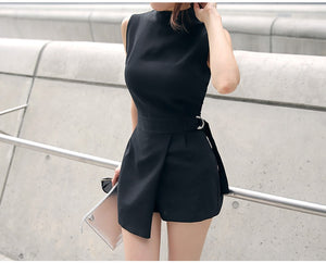 Belted Slim Playsuits Women Short