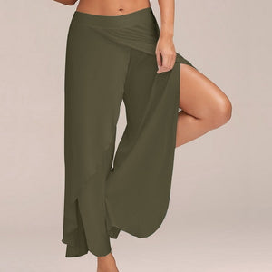 5XL Plus Size Split Casual Loose Wide Leg Pants Women Plsu Size Long Pants Solid Low Waist Trousers Female pantalon mujer