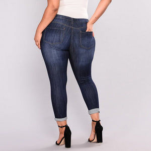 Plus Size High Elastic Hole Jeans Women's True Denim Skinny Distressed Jean For Women Jeans Pencil Pants
