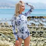 Long Sleeves Rash Guard Women Surf Swimwear Floral One Piece Swimsuit For Diving UV Swimming