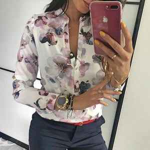 Spring Women Elegant Casual Blouse Floral Print Button Design Long Sleeve Shirt Basic Top