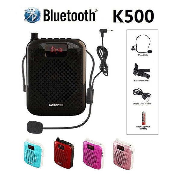 K500 Microphone Bluetooth Loudspeaker Portable Auto Pairing USB Charging Voice Amplifier Megaphone Speaker For Teaching