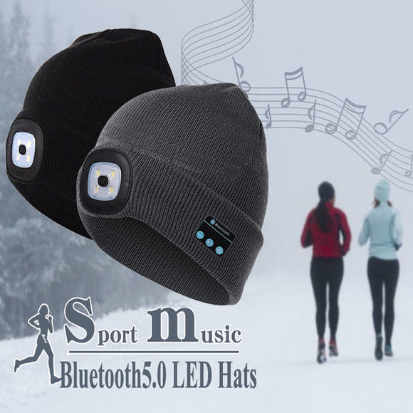 Gorro con altavoz Bluetooth y luz LED