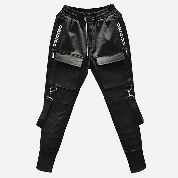 Men Multi-pocket Elastic Waist Street Punk Dancing Pant