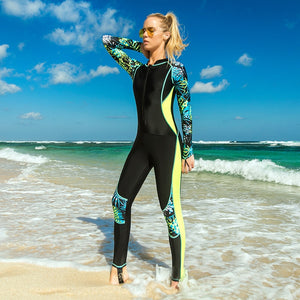 Sbart Thin Printed Long Sleeve Rash Guard Women One Piece Female Swimsuits Swimwear Zip Up Surf Wetsuits Bathing Suits