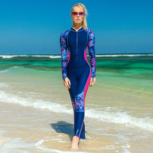 Cargar imagen en el visor de la galería, Sbart Thin Printed Long Sleeve Rash Guard Women One Piece Female Swimsuits Swimwear Zip Up Surf Wetsuits Bathing Suits