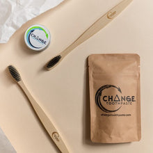 Load image into Gallery viewer, Change toothpaste cinnamon 1 month pack, travel tin, and 2 toothbrushes