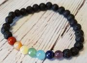 Load image into Gallery viewer, lave with chakra stones bracelet 6mm