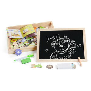 Wooden Magnetic Puzzle Art Drawing Chalk Board (100 pieces)