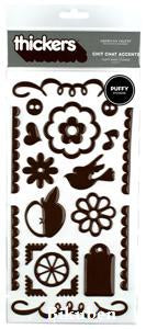 Thickers: Chit Chat Accents - CHESTNUT Puffy Stickers