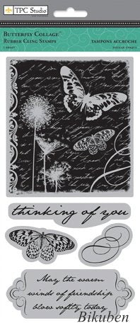 TPC Studio - Butterfly Collage - Cling Stamp