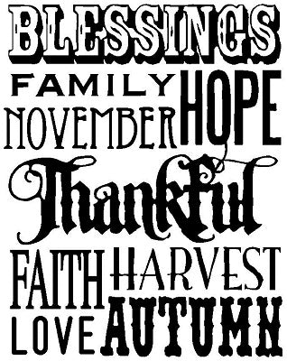 Tim Holtz Collection: Thankful Words - Wood mount Stamp