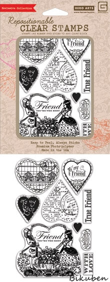 Hero Arts & Basic Grey - Kissing Booth - Friend - You're the best - Cling Stamps
