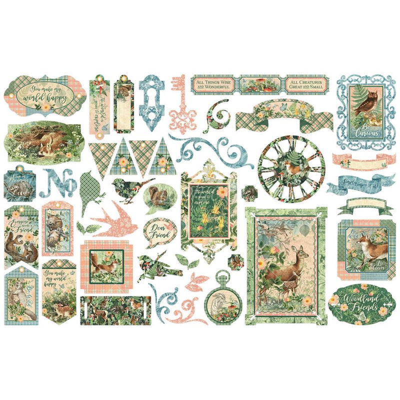 Graphic 45 - Woodland Friends  - Die Cut Assortment Cards