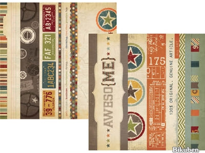 "Simple Stories - Awesome - Border & 4x12"" Title Strip Elements 12x12"""