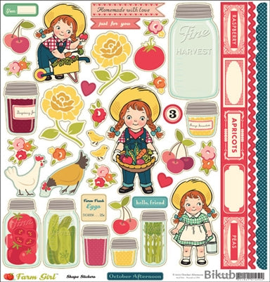 October Afternoon - Farm Girl - Shape Stickers 12x12""