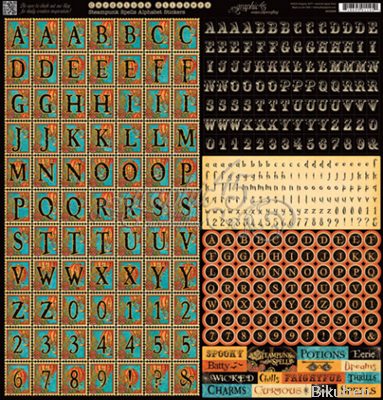 "Graphic45 - Steampunk Spells 12x12"" Alphabet Stickers"