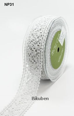 May Arts: Crochet Lace Ribbon -  GRAY  (metervis)