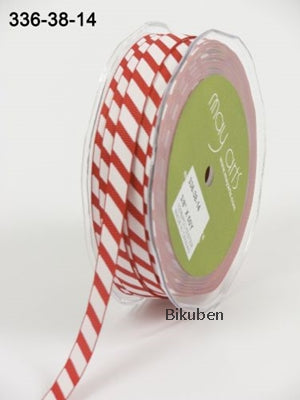 May Arts - Diagonal Stripes Ribbon - Red/White - METERSVIS
