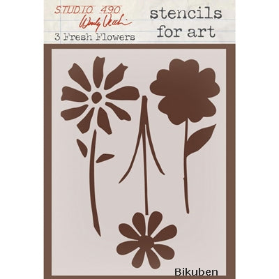 Studio 490 - Wendy Vecchi - 3 Fresh Flowers - Art Stencil