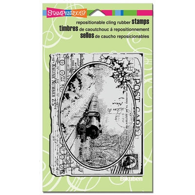 Stampendous - Cling Rubber Stamp - Train Postcard