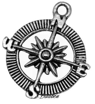 Charms - Antique Silver - Kompass