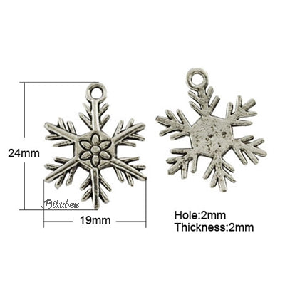 Charms - Antique Silver - Flowered Snowflake