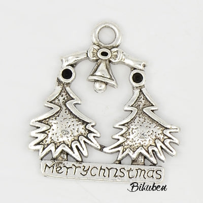 Charms - Antique Silver - Merry Christmas Trees